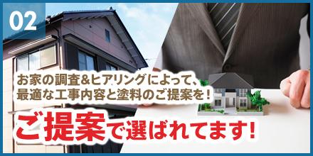 お家の調査&ヒアリングによって、最適な工事内容と塗料のご提案を!